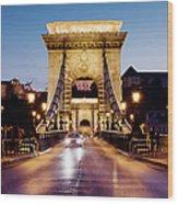 Chain Bridge In Budapest At Night Wood Print