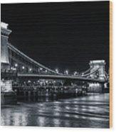 Chain Bridge Night Bw Wood Print