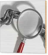 Chain Missing Link Magnifying Glass Wood Print by Allan Swart
