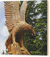 Chainsaw Carved Eagle Wood Print