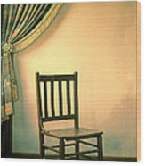 Chair And Curtain Wood Print