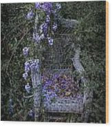 Chair And Flowers Wood Print