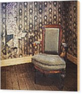 Chair In Abandoned Room Wood Print
