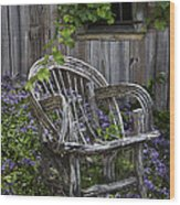 Chair In The Garden Wood Print