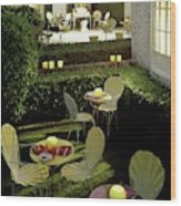 Chairs And Tables In A Garden Wood Print