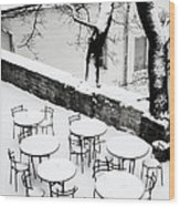 Chairs And Tables In Snow Wood Print