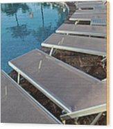 Chairs Around Hotel Pool Wood Print by Brandon Bourdages