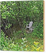 Chairs By The Creek In Summer Wood Print