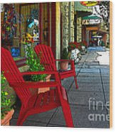 Chairs On A Sidewalk Wood Print by James Eddy