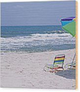 Chairs On The Beach, Gulf Of Mexico Wood Print