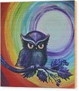 Chakra Meditation With Owl Wood Print