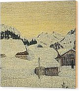 Chalets In Snow Wood Print by Giovanni Segantini