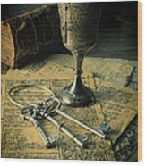 Chalice And Keys Wood Print
