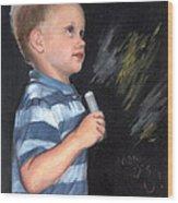 Chalk Talk - Mom Loves U Wood Print