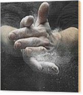 Chalked Hands, High-speed Photograph Wood Print