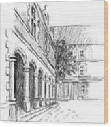 Chambord Courtyard Wood Print