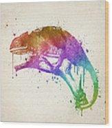 Chameleon Splash Wood Print
