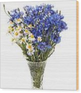 White Camomile And Blue Cornflower In Glass Vase  Wood Print