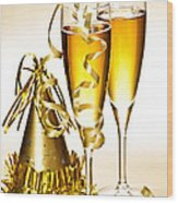 Champagne And New Years Party Decorations Wood Print