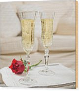 Champagne And Rose Wood Print