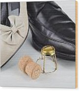Champagne And Shoes For Saint Valentine Wood Print