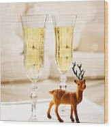 Champagne At Christmas Wood Print