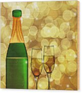 Champagne Bottle And Two Glass Flutes Wood Print