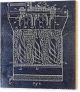 Champagne Bottle Freezer Patent 1902 Blue Wood Print