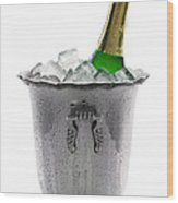 Champagne Bottle On Ice Wood Print