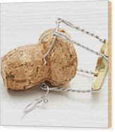 Champagne Cork Stopper Wood Print