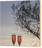 Champagne For Two Wood Print