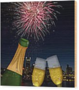 Champagne Toast With Portland Oregon Skyline Wood Print by JPLDesigns