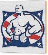 Champion American Boxer Akimbo Retro Wood Print by Aloysius Patrimonio
