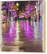 Champs Elysees In Pink Wood Print
