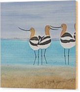 Chance Encounter At The Beach Wood Print by Carolyn Doe