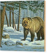 Chance Encounter - Grizzly Wood Print