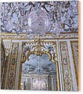 Chandelier Inside Chateau De Chantilly Wood Print