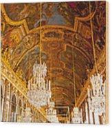 Chandeliers And Ceiling Of Versailles Wood Print