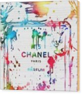 Chanel Number Five Paint Splatter Wood Print