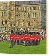 Changing Of The Guard In Front Of The Parliament Building In Ottawa-on Wood Print