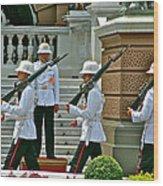 Changing Of The Guard Near Reception Hall At Grand Palace Of Thailand In Bangkok Wood Print