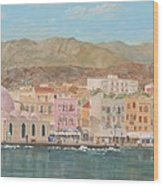 Chania Harbour Early Summer Morning Wood Print