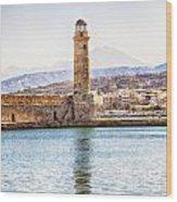 Chania Lighthouse Wood Print