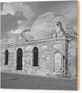 Chania Mosque Crete Black  And White Wood Print