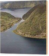 Channel In Lake Cuicocha Wood Print