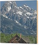 1m9335-chapel And Grand Teton Wood Print