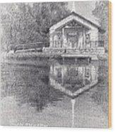 Chapel On A Lake Pencil Portrait Wood Print