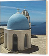 Chapel On Santorini Wood Print
