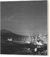 Chapel On The Rock Stary Night Portrait Bw Wood Print