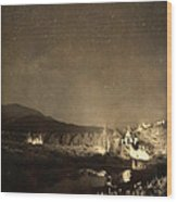 Chapel On The Rock Stary Night Portrait Monotone Wood Print by James BO  Insogna